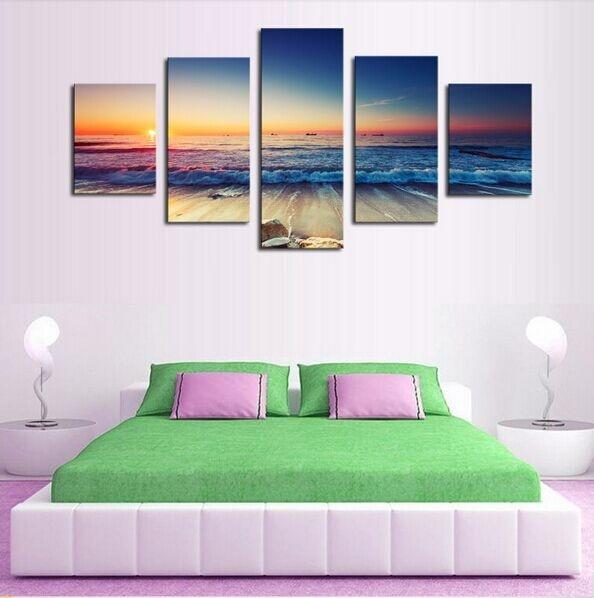 5 panel plakatlar çap kətan dəniz mənzərəsi gün batımı - Ev dekoru - Fotoqrafiya 2