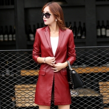 2016 New Autumn Winter Women Leather Jacket Mid-length Lady Faux Leather Coat Slim Fit Outerwears With Single Button KL6607