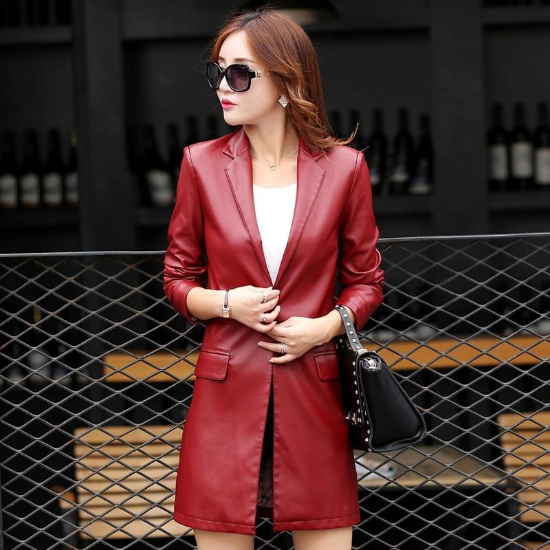 Lady Bouton red Black Cuir Faux Veste Mi Femmes Seul longueur Kl6607 Fit Un Manteau Slim Hiver Outerwears wine Kl6607 Automne 2016 Nouveau En Kl6607 Avec qwRzUU