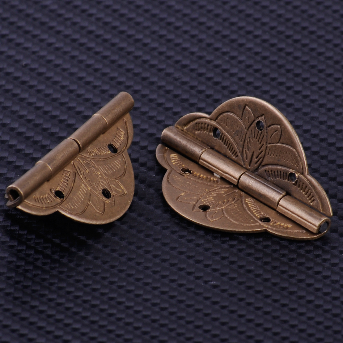 2Pcs Vintage Bronze Brass Hinge For Jewelry Box Decorative Cabinet Cupboard Case Furniture Door Angles Rotation 270 Degree Max