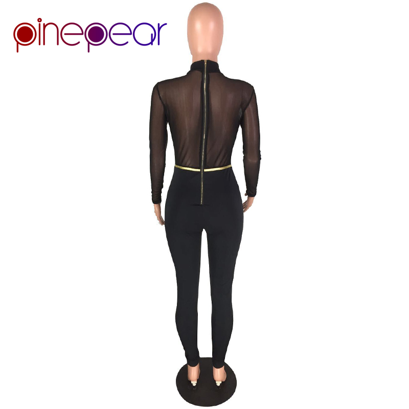 41e929b13f30 PinePear Sexy Mesh Jumpsuit Women 2019 Winter Long Sleeve Lace Up See  Through Nightclub Bandage Bodycon Romper Drop Shipping-in Jumpsuits from  Women s ...