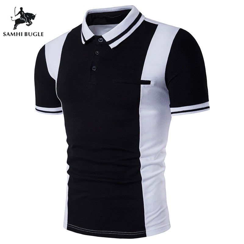 2019 New European Style Black and White hit Color   Polo   Shirt Men Lapel Short-sleeved   Polo   Homme de Marque Haute Qualite