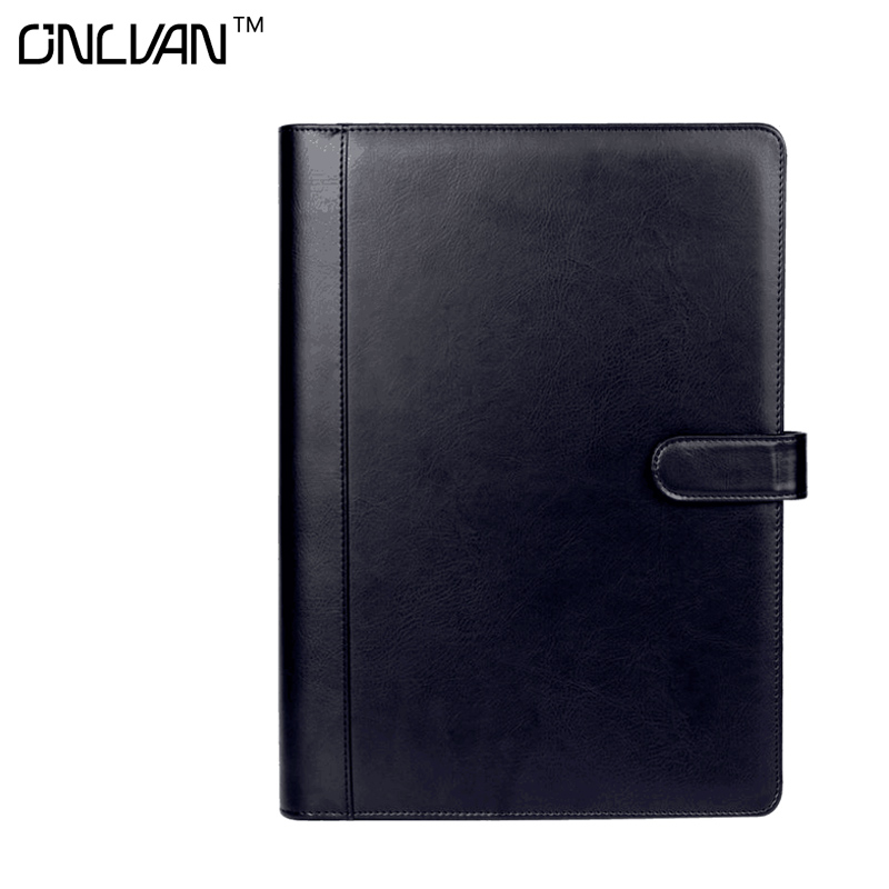 ONLVAN Calculator Notebook PU Leather Conference Document Holder with 10 Page Pockets New Office Stationary Products Sketchbook