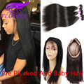 Pre Plucked 360 Lace Frontal Closure with Bundles Malaysian Virgin Hair with Closure Straight Human hair Malaysian Straight Hair