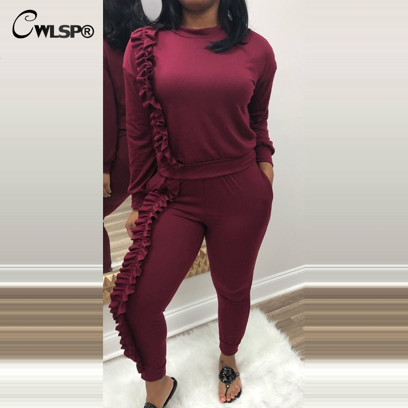 CWLSP Fashion Tracksuits Women Ruffles Pullover 2 Piece Suit Set Long Sleeve Hoodie& Sweatpant chandal mujer completo QA2106
