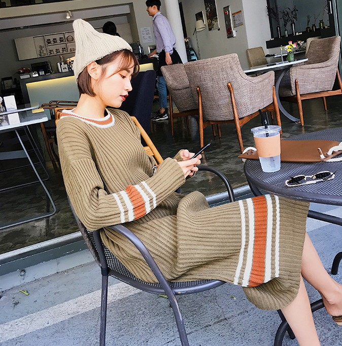 Women Knitted Dress Winter 2017 New Long sleeved Korean Style Fashion Wild  Ladies Knit Dress Loose Casual Cotton Long Dress-in Dresses from Women s  Clothing ... 04c6d4d460fc
