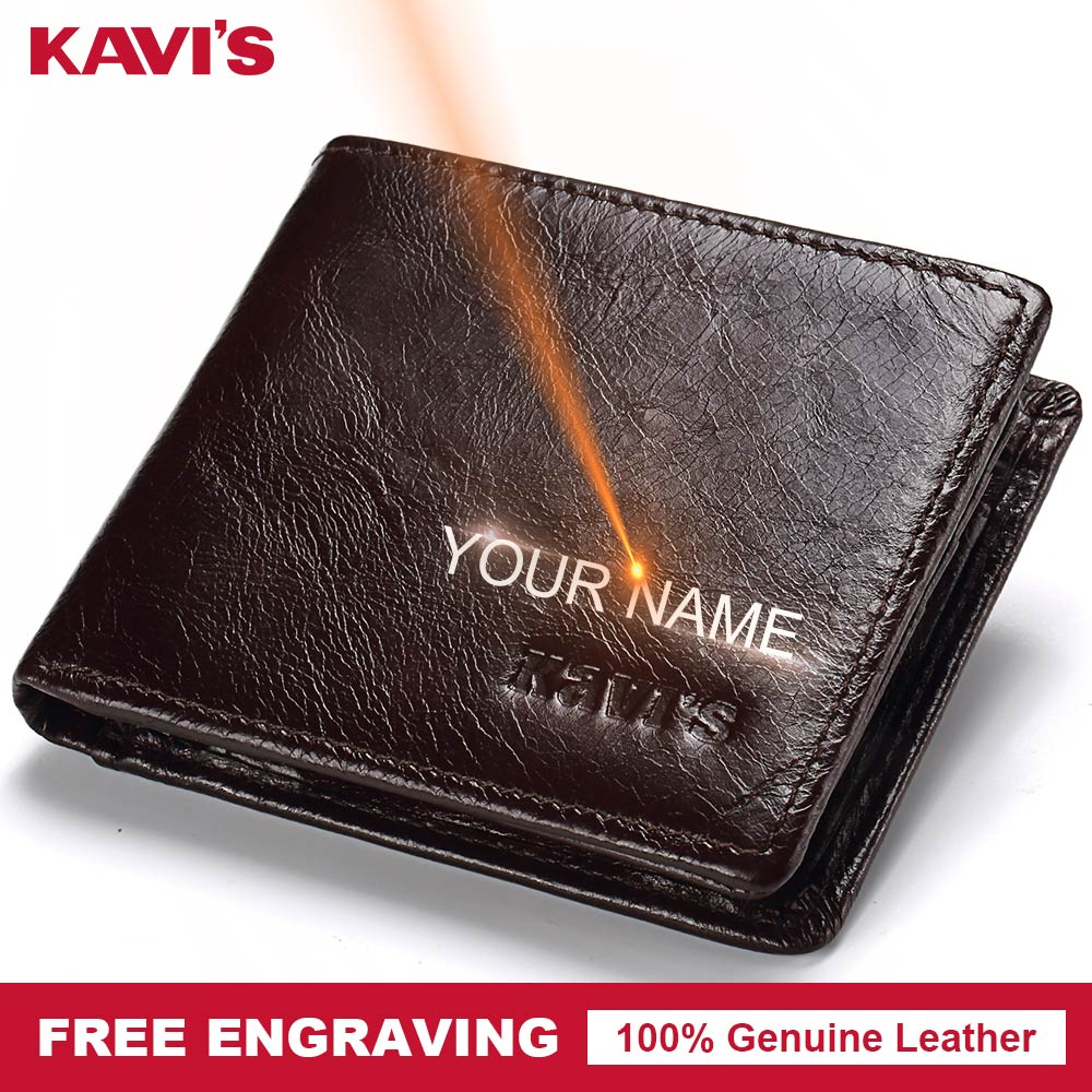 KAVIS Rfid High Quality 100% Genuine Leather Wallet Men Coin Purse Portomonee PORTFOLIO Card Holder Male Cuzdan Perse Fashion kavis 100