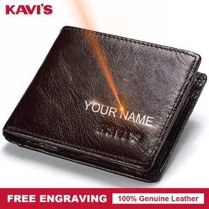 a912d35be34a KAVIS 100% Genuine Leather Wallet Men Coin Purse Male