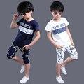 Ropa de los adolescentes niños impresión de la letra del verano ropa deportiva de manga corta camiseta + pantalones fijados ropa de los niños