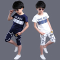 teenage boys clothes kids summer letter print short-sleeve sportswear t shirt+pants set children clothing