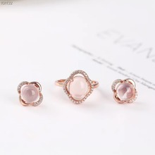 цены wholesale 2019  fashionable elegant ladies 925 sterling silver natural quartz pink crystal ring earring jewelry set