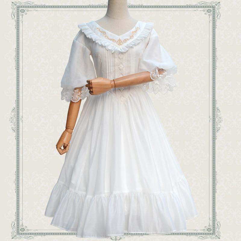 2019 New Classic Lolita Dress Sweet V Neck Embroidered Half Sleeve Chiffon Dress for Women Black