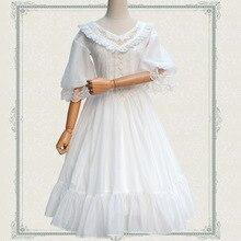 فستان لوليتا كلاسيكي جديد لعام 2019 فستان شيفون نصف كم مطرز برقبة على شكل حرف V للنساء أبيض/أسود