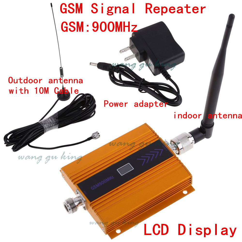 2018 NEW LCD GSM 900Mhz Mobile Phone Signal Booster , GSM Signal Repeater / Booster, Power Charger With Cable + Antenna 1 SET