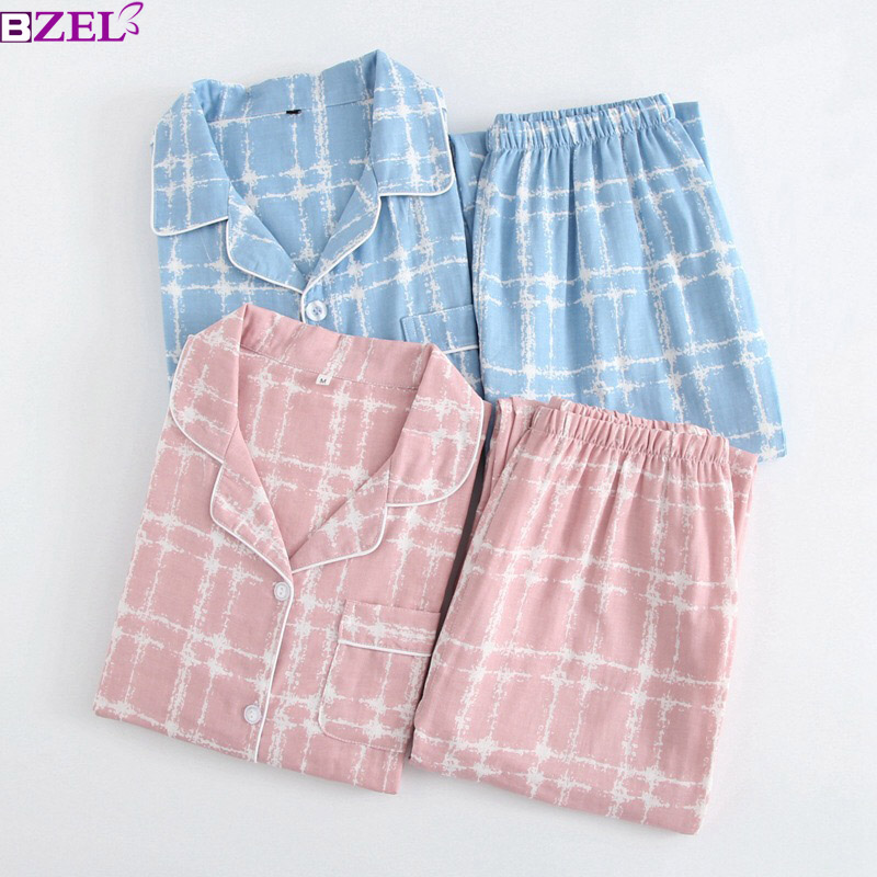 2019 Fashion Spring Men's And Women's 100% Gauze Cotton Plaid Lovers   pajamas     Set   Sleepwear Long Sleeves Ladies Household Clothes