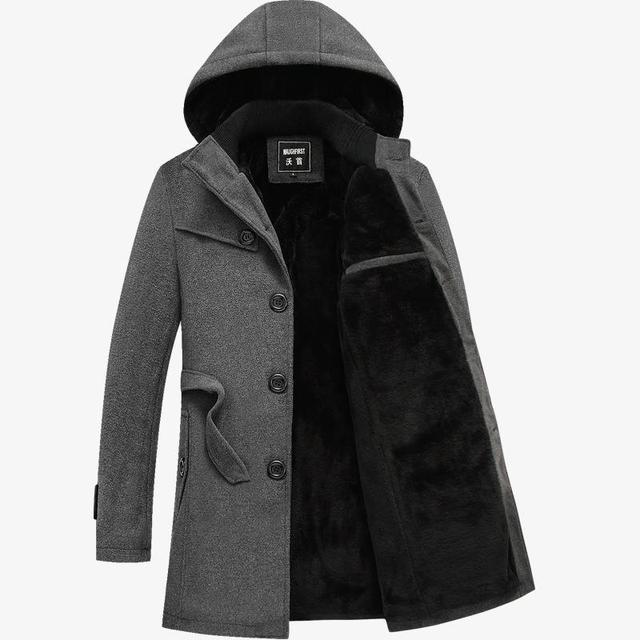 Plus Size Trench Com Capuz Brasão Jacket Para Homens Bussiness Masculino 2017 Longos Casacos de Inverno Moda Casual Único Breasted Blusão 4XL