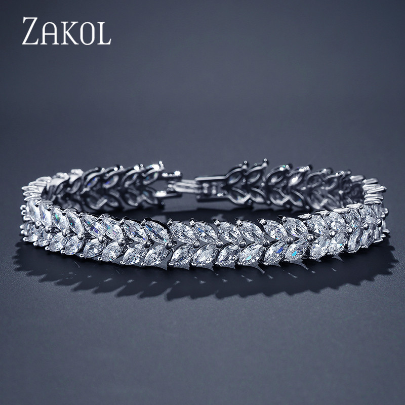 ZAKOL Fashion Zircon Wedding Jewelry Luxurious Elements Leaf Crystal White Color Bracelets Bangles for Brides FSBP131ZAKOL Fashion Zircon Wedding Jewelry Luxurious Elements Leaf Crystal White Color Bracelets Bangles for Brides FSBP131