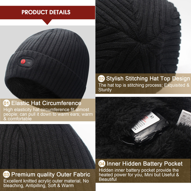 Unisex 7.4V Rechargeable Battery electric heated hat Beanies for winter cold weather 3 levels control men and women 3