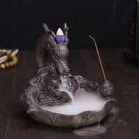 Керамика Дракон Ладан горелки для дым обратный как вода потокового Подпушка Книги по искусству Craft Ладан конический печь Домашний Декор