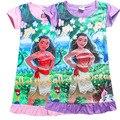 Estilo Girls Vestido de verano 100% algodón 4 Diseños de los niños ropa niños de la historieta Moana princesa vestido estampado de la muchacha para 4-10 años de edad