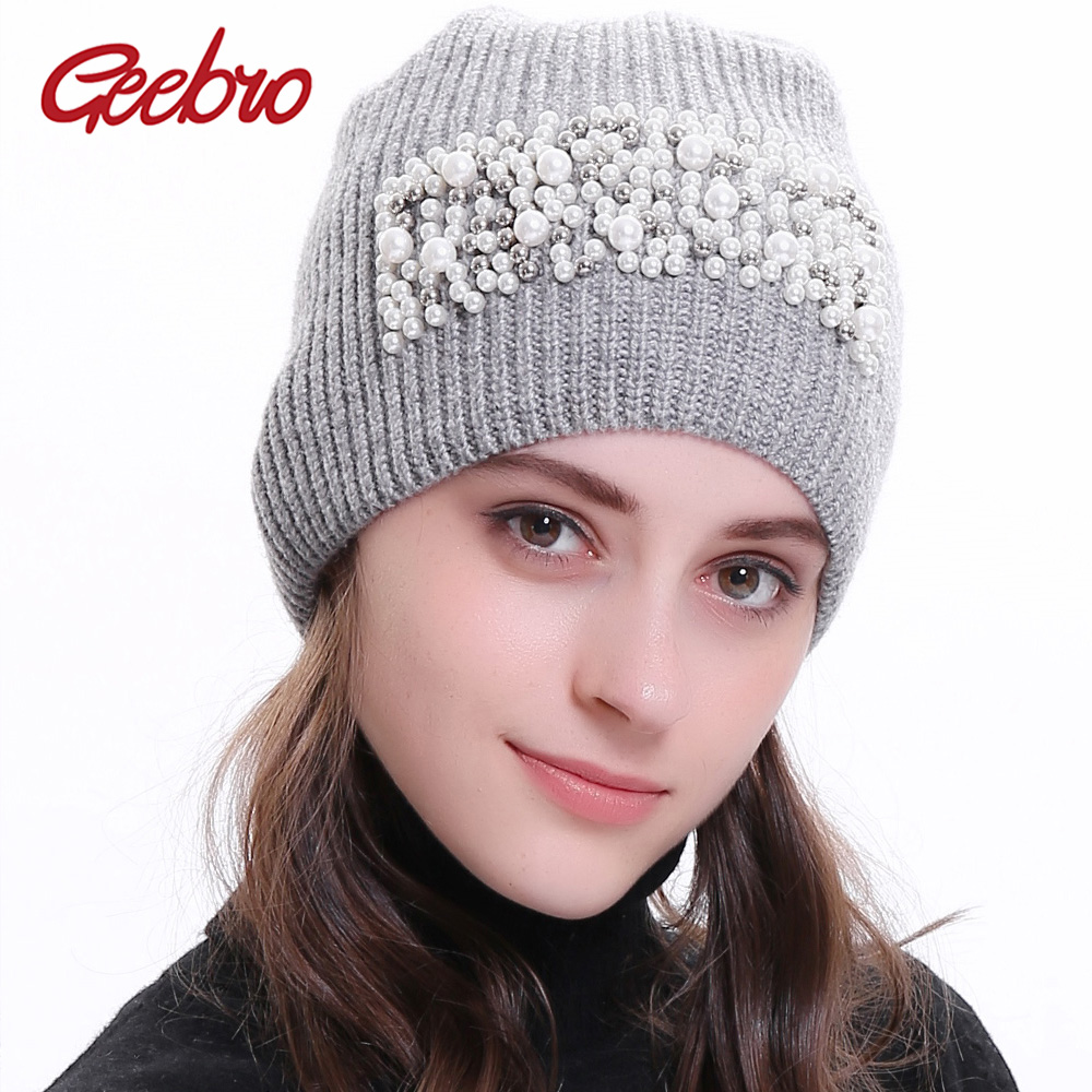 Geebro Women's   Beanie   Hats with applique Winter Knitted Cashmere Pearl Slouchy   Beanies     Skullies   Hats gorros mujer invierno
