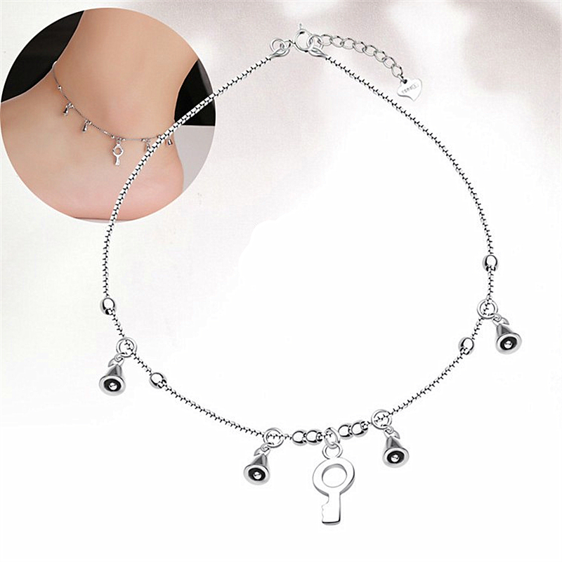 2016 Girl Bell Key Pendant Love 925 indian sterling silver Ankle Bracelet jewelry dropship suppliers foot chain Anklet women