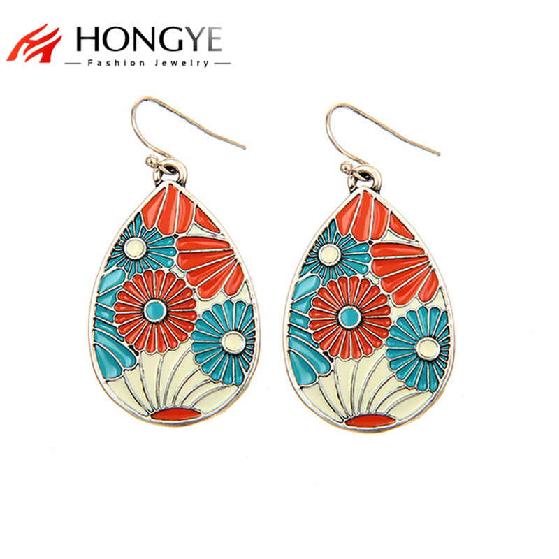 HONGYE New Fashion Enamel Drop Earrings Gold Silver Color Trendy Water Drop Earrings For Women Big Statement Jewelry Bijoux