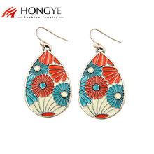 цены на 2016 New Fashion Enamel Drop Earrings 18K Gold Silver Plated Trendy Water Drop Earrings For Women Big Statement Jewelry  в интернет-магазинах