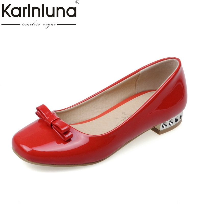 Karinluna 2018 Large Size 33-43 Sweet Bow  Slip On Square Toe Red Shoes Women Flats Spring Summer Girls Footwear hot sale 2016 new fashion spring women flats black shoes ladies pointed toe slip on flat women s shoes size 33 43