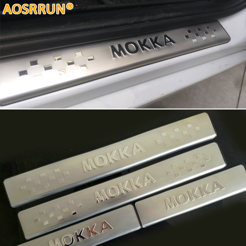Aosrrun carro-estilo inoxidável placa do peitoril da porta scuff placa acessórios do carro para opel mokka vauxhall mokka 2012 2013 2014