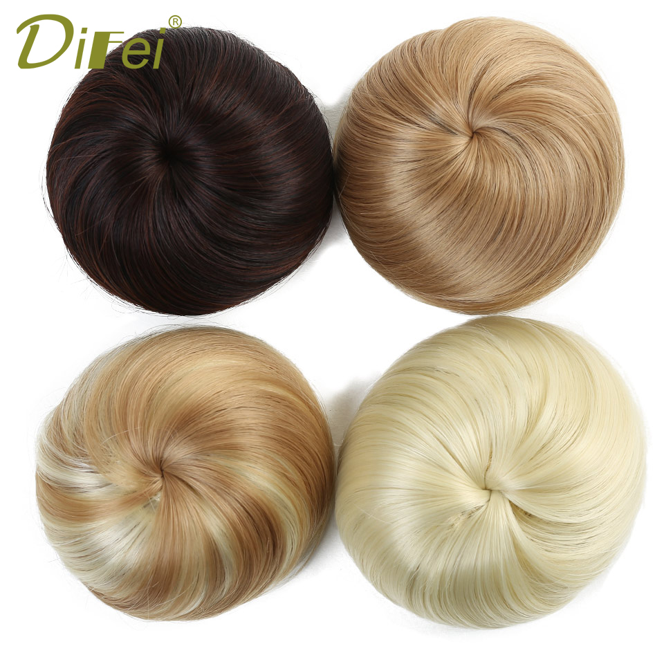 DIFEI Girls Black Brown Bun Synthetic Hair Elastic Rubber Band Chignon Drawstring Donut Fake Hair