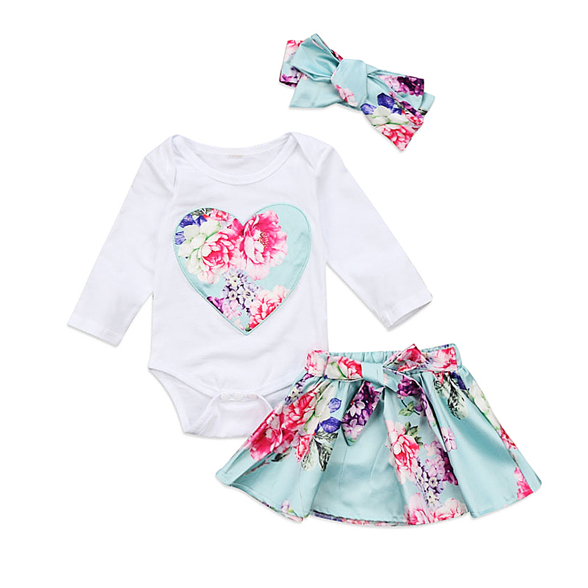 Fashion Baby Girls Clothes Newborn Kid Baby Girl Floral Skirts Infant Baby Girls Jumpsuit Long Sleeve Romper Headwear Outfits
