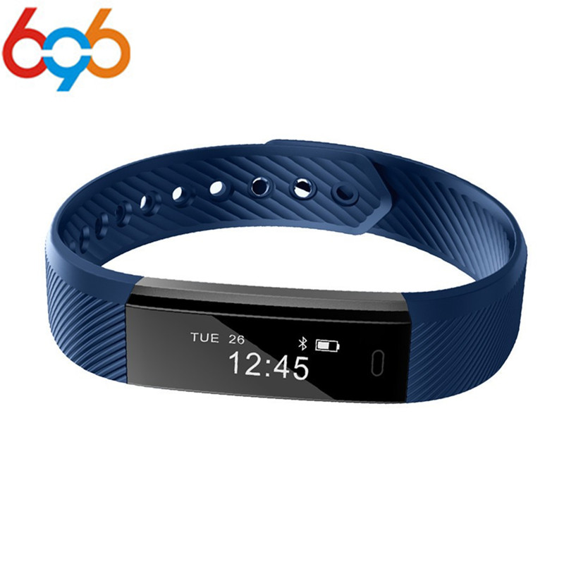 696 Smart Band ID115 HR Bluetooth Wristband Heart Rate Monitor Fitness Tracker Pedometer Bracelet For Phone pk FitBits mi 2 Fit