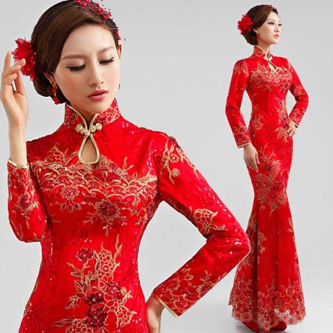 Dress bridesmaid dresses luxury embroidered long sleeved red dress