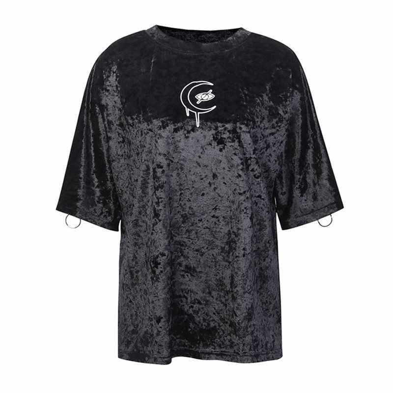 ฤดูร้อน Harajuku Casual Plus ขนาดสีดำ Gothic T เสื้อผู้หญิงเสื้อผ้า Streetwear 2019 หลวม Moon พิมพ์หญิงกราฟิก Top Tees