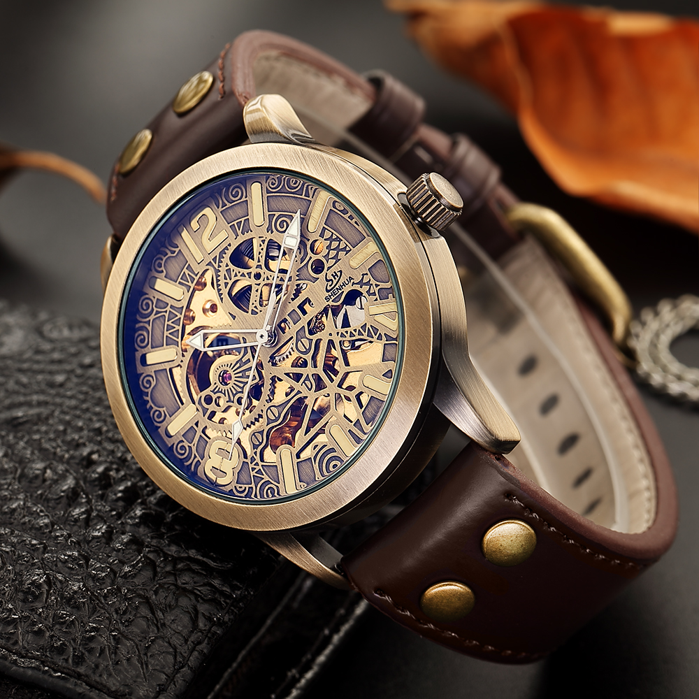 SHENHUA 2019 Mens Casual Sport Watch Vintage Leather Top Brand Luxury Army Automatic Men's Wrist Watch Military Skeleton Clock