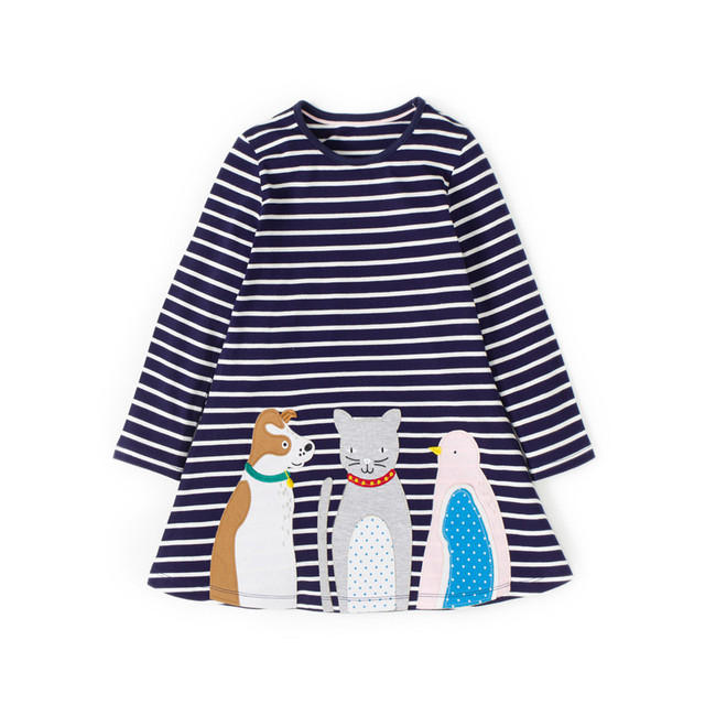 Children Girls Dresses for 3-12 years fashion european and american style baby girl clothes striped cotton kids frocks princess