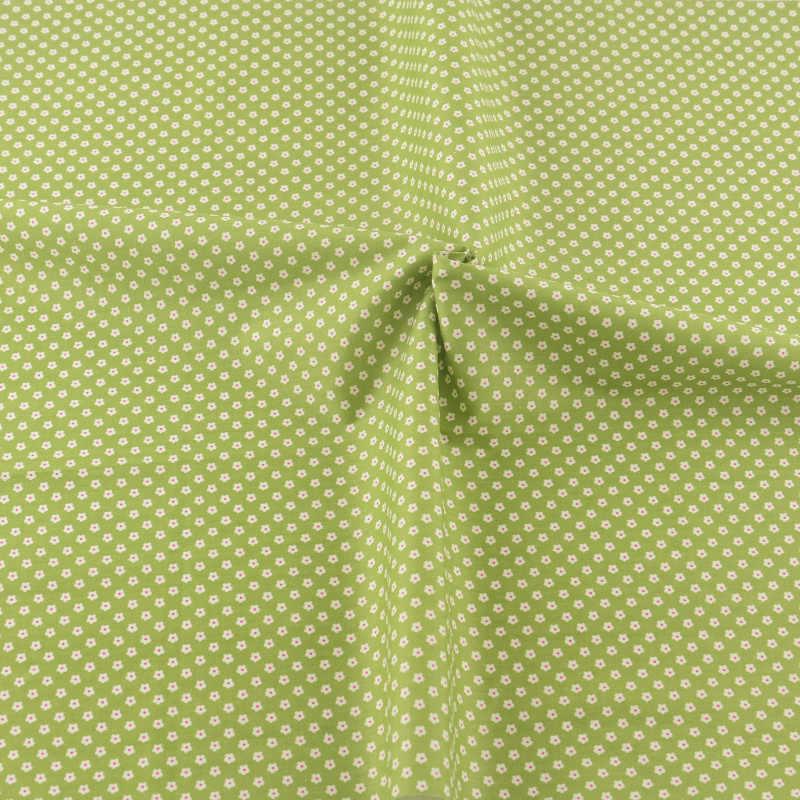 Mini Bianco Fiori di Disegno di Colore Verde Quilting Decorazione Del Tessuto di Cotone Tessili Per La Casa Patchwork di Stoffa Da Cucire Teramila Tessuti CM