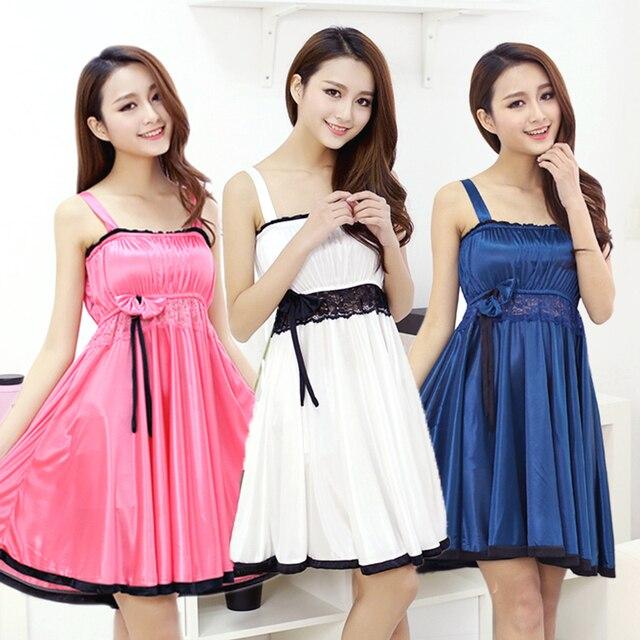 Ladies summer Princess thin silk nightdress sexy nightgown dress temptation lingerie Home Furnishing suit