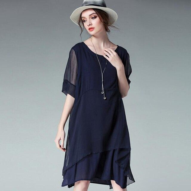 Платье синего цвета большой размер