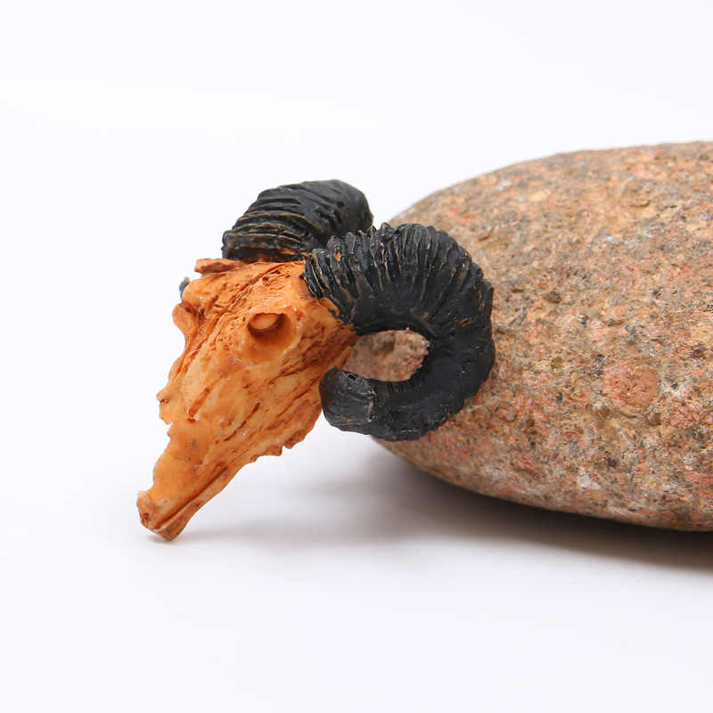 Decoración Para peceras de resina BUF, decoración creativa con diseño de calavera de cabra, escultura de cráneo, adornos creativos para peceras