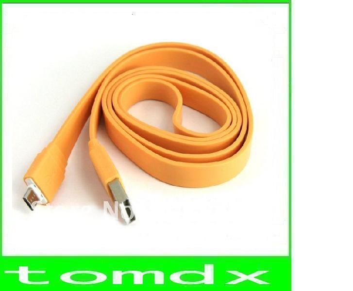Noodle Flat type color micro usb cable/usb charger cable/data sync usb cable for s3 i9300 for htc kindle samsung etc 200pcs