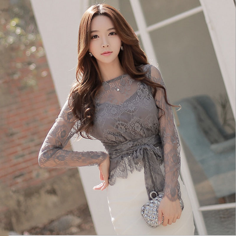 Ladies plus size chiffon blouses tops 2018 Spring Fashion Lace Hollow out Primer shirt Skinny office