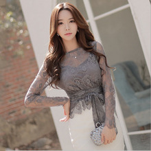 Ladies plus size chiffon blouses tops 2018 Spring Fashion Lace Hollow out Primer shirt Skinny office Sexy shirts blusas Women