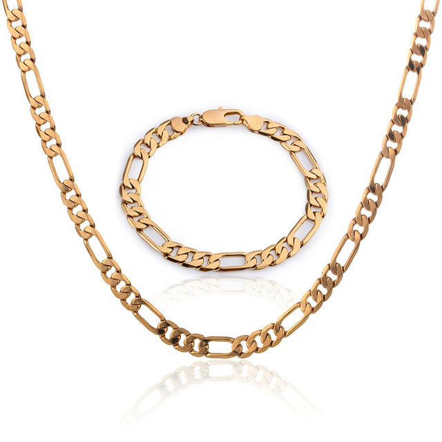 African Jewelry Sets For Men Gold Chain Necklaces Bracelets Filled Jewellery Set Free