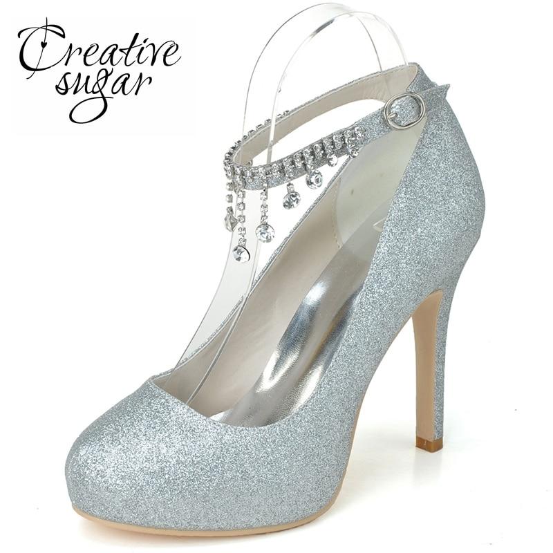 Closed Toe Silver High Heels
