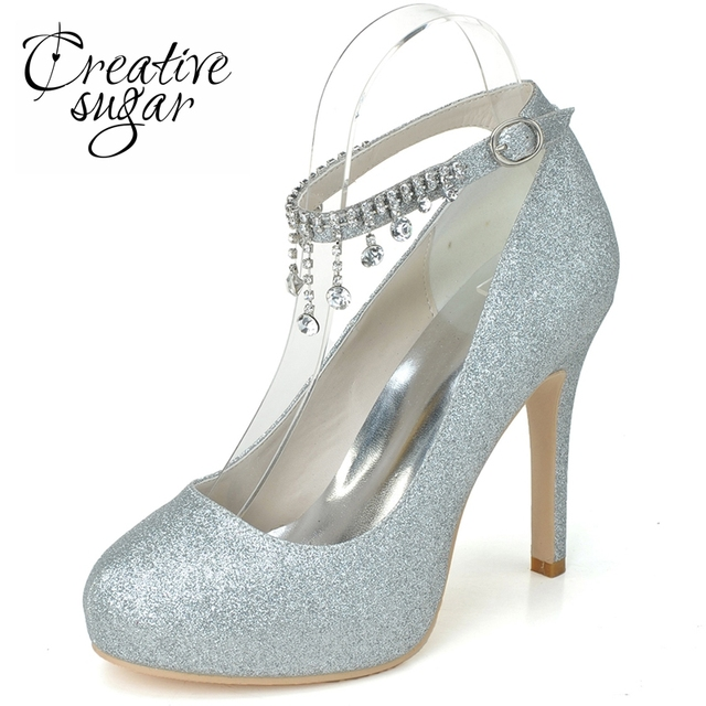 7f0da0a7861a Creativesugar lady rhinestone ankle strap glitter gold silver platform high  heels party prom cocktail rounded closed toe shoes. 2 orders
