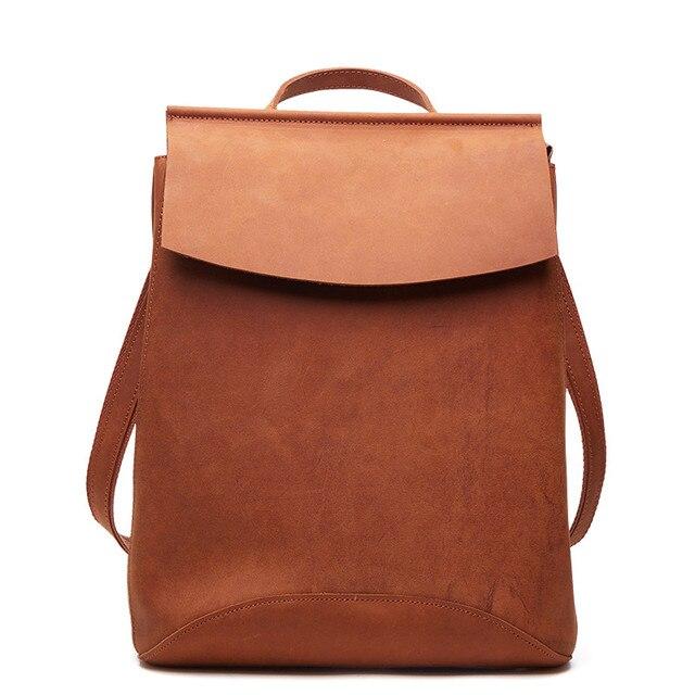 35d1454dbd Sac à dos de luxe en cuir de cheval fou fait main Vintage marron sacs de