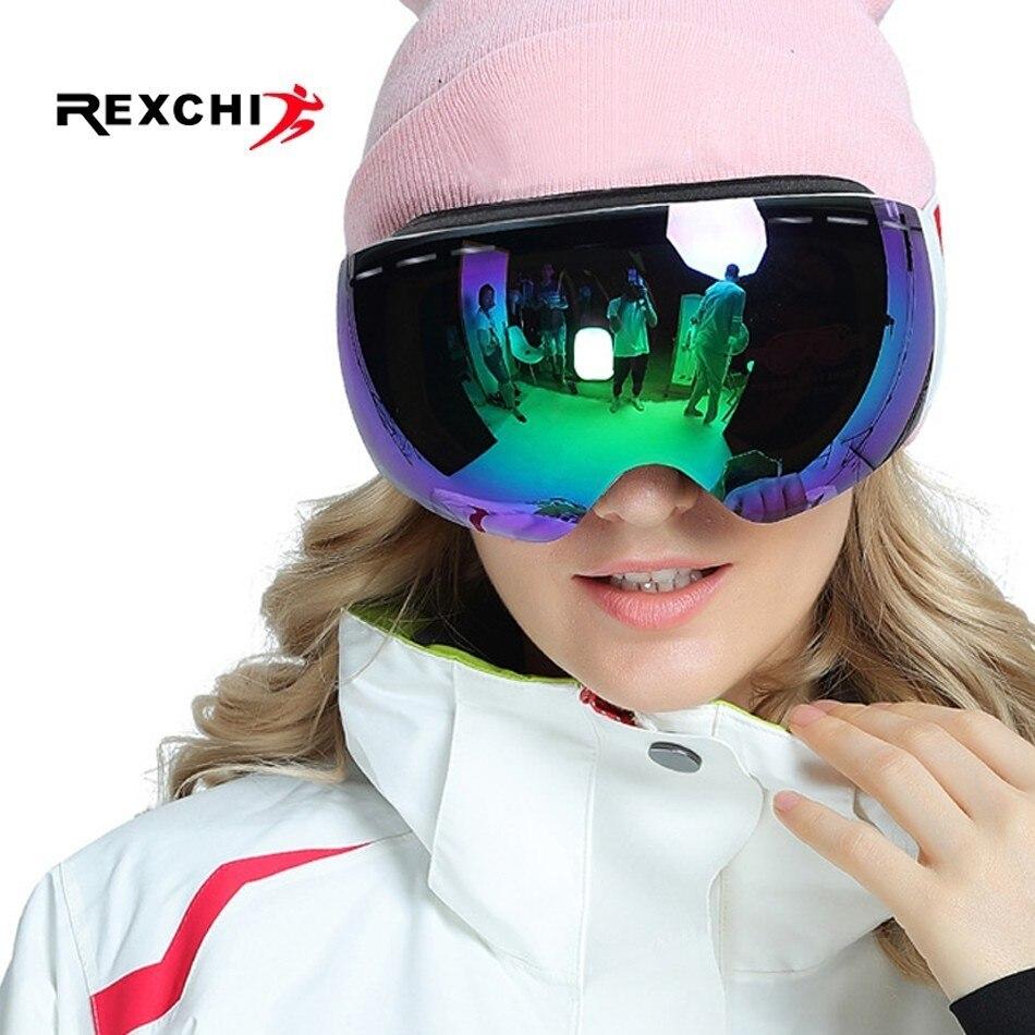 Snowboard Lunettes Ski Lunettes Hiver Sports de Neige Anti-brouillard UV Protection Masque pour Hommes Femmes Motoneige Ski Équipement De Patinage