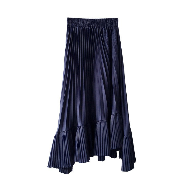 0980 women irregular pleated chiffon bust skirt female spring 2019 new high waist skirts long girl 2